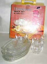 Retro Federal 8 pc Clear Glass Snack Set Homestead Pattern Original Box FREE SH