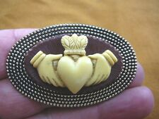 (CM38-81) traditional CLADDAGH heart hands brown + ivory CAMEO brass Pin Pendant