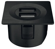 Square 12V USB charging station with connecting lead, matt black for camper home