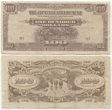 Malaya 100 Dollars 1944, P-M8b, VF, Japanese Occupation WW2