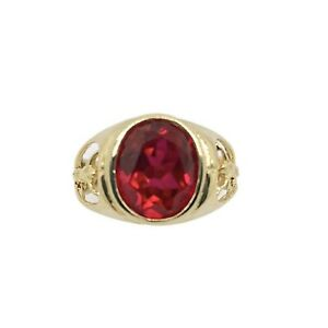 14k Gold Red Cubic Zirconia With Jesus On The Side Mens Ring Real Gold Size 9.5