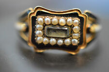 Art Deco von 1851 Memorial Ring Antik Jugenstil 750er Orientperle 18ct Gold Ring