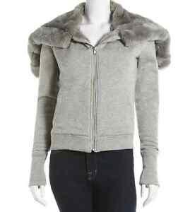 AIKO Rabit Fur-Trim Hoodie, Gray Size XS