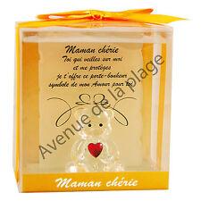 """Figurine Ours porte-bonheur en verre """"Maman chérie"""" idée cadeau originale neuf"""