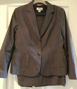 Talbots 2 pc Brown w/White Pinstripe Lined Skirt Jacket Suit Lined 8 Petite
