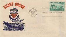 SEUL SUR LETTRE LETTER PREMIER JOUR FIRST DAY COAST GUARD NEW YORK 1945