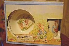 Wedgwood Barlaston Peter Rabbit Childs 3-Pc Breakfast Set England Plate Cup Bowl