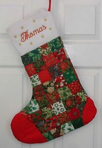 Medium personalised handmade patchwork Christmas Stocking with embroidered name