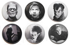 "1"" (25mm) Classic Horror Button Badge Pin Set - Dracula, Frankenstein, Wolfman"