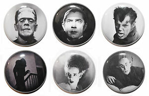 """1"""" (25mm) Classic Horror Button Badge Pin Set - Dracula, Frankenstein, Wolfman"""