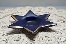Vintage Smoking Ashtray Candle Holder Echt Cobalt blue Porcelain Bavaria Germany