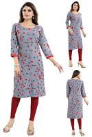 Women Indian Printed 3/4 Sleeves Kurti Tunic Kurta Shirt Dress Floral SC2474
