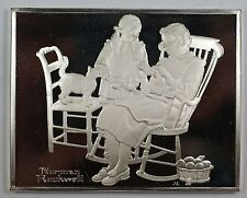 Norman Rockwell Fondest Memories The Knitting Lesson Sterling Silver Proof Ingot