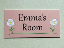 Pink Flowers Personalised Door Name Plaque Bedroom Room Sign Children Daisy's []