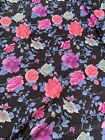 "Vintage Purple Blue Pink FLORAL  Fabric NYLON POLY Gorgeous, 4.5 Yards X 60"""