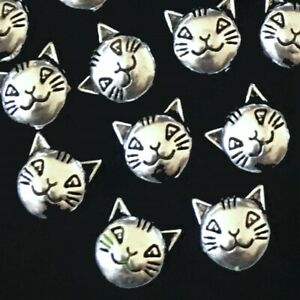 15 Antique Silver Pewter Cat Head Face Bead Kitty Pet Animal 2 sided 8mm