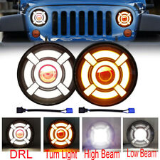 7 Inch Round LED Headlights Halo Angle Eyes For Jeep Wrangler JK LJ TJ CJ x2