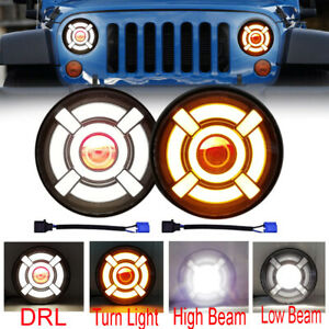 For JEEP Wrangler JK TJ LJ Halo 7'' LED Headlights DRL Lights Combo KIT 2PCS