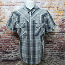 GUESS MEN'S PLAID COTTON SNAPPED SHORT SLEEVE WESTERN SHIRT SIZE XL A25-16