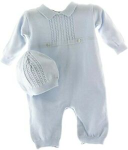 Feltman Brothers Infant Boys Blue Knit Romper & Hat Take Home Outfit NB-9m
