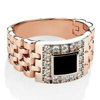Men's 18K Rose Gold Plated Classic Watchband Design Black Sapphire Ring Size7-12