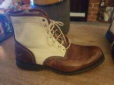 TIMBERLAND  VINTAGE LOOK BROWN LEATHER CREAM CANVAS BOOT SIZE 7.5 COST 165.00