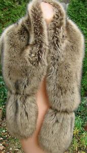 Faux Fur Wrap Stole VGC Realistic lined Coco Carmen Brown Fluffy