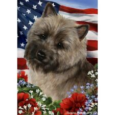 Patriotic (1) House Flag - Brindle Cairn Terrier 16326