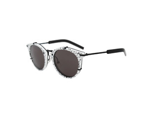 Christian Dior 0196S TCBY1 Sunglasses 48 Black & White Splotched Grey Lenses