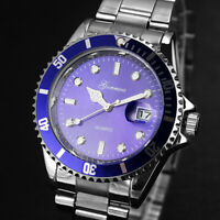 Men Women Fashion Military Stainless Steel Date Sport Quartz Analog Wrist Watch