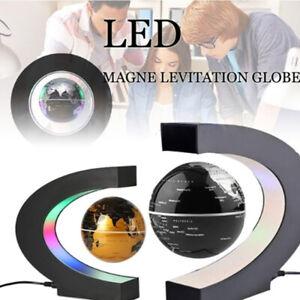 Magnetische Levitation Floating Globe C-Form Bunte LED-Weltkarte Home Desktop AS
