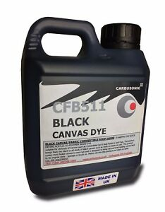 Black convertible roof hood canvas dye revive-restorer colour to fabrics. 5 LT