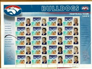 """Special personalized """"P"""" stamps 2002 Bulldogs football Club sheet of 20 on piece"""