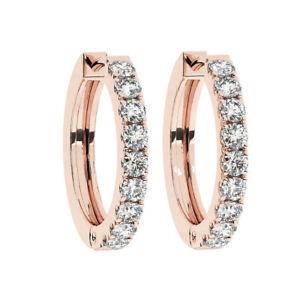 0.30CT Pave Set Round Brilliant Cut Diamonds Hoop Earrings in 9K Rose Gold