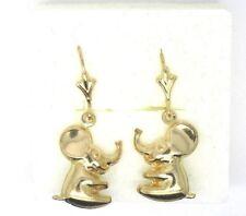 9ct Yellow Gold Baby Elephant Drop Earrings on Hook Wire with Fleur De Lys