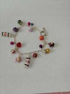 handmade christmas silver plated charms bracelet