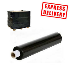 6 ROLLS STRONG BLACK 400MM x 300M HEAVY DUTY PALLET WRAP EXTENDED CORE 17 MICRON