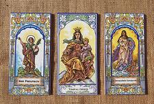 Three Vintage Spanish Religious Decorative Wall Tiles