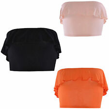 No Pattern Bandeau Cropped Tops & Shirts for Women