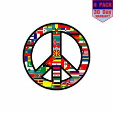 World Peace Sign Symbol 4 pack 4x4 Inch Sticker Decal