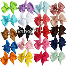 "20pcs Hair Bow 4"" Boutique Girls Fancy Alligator Clip Grosgrain Ribbon Headband"