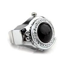 Stretchy Black Round Agate Gem Finger Ring Watch 20mm HOT LW
