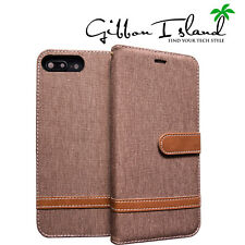 iphone 8 plus case -linen woven wallet 3 card slots with glass screen protector