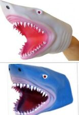 2 Pack - Soft Rubber Realistic 6 Inch Great Shark Hand Puppet Blue and White