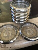 Wes Blackinton Vintage Silver Plated Glass Coasters