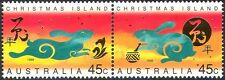 Christmas Island 1999 YO Rabbit/Greetings/Animals/Lunar Zodiac/Luck 2v pr b5038