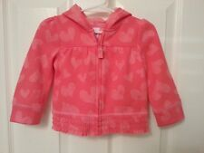 NEW Circo Hooded Fleece Zip-up Jacket Pink with Hearts -Girls 12 Month -So soft!
