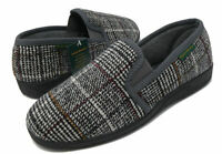 Men's Grey Check Twin Gusset Slippers, outdoor sole, Limited Time OFFER,