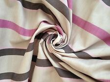 8 Metres Pink And Brown Candy Stripe Faux Silk Curtain  Fabric