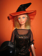 B979) vieja Enchanted Halloween barbie mattel 2002 completa original-ropa + sombrero